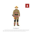 firefighter with an axe on white background vector image vector image