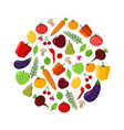 fruit and vegetable circle on a white background vector image vector image