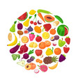 fruits and vegetables organic healthy in circle vector image