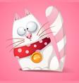 funny cute crazy cartoon cat vector image