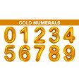 gold numerals set golden yellow metal vector image