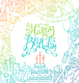 Hand-drawn Happy Birthday square background vector image vector image