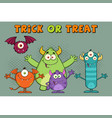 happy monsters cartoon characters vector image vector image