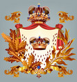 heraldic design with crown and coat of arms vector image vector image
