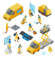 isometric industrial cleaning icon set vector image