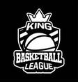 king basketball league badge or sign or emblem vector image vector image