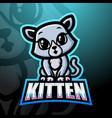 kitten mascot esport logo design vector image vector image