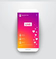 live video streaming stories on smartphone vector image vector image