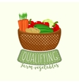 Painted logo design of full vegetable basket with vector image vector image