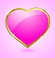 Pink and golden heart vector image vector image