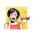 pretty woman with surprised face expression white vector image vector image
