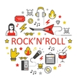 Rocknroll Line Art Thin Icons Set vector image