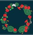 round frame nasturtium flowers vector image