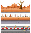 set of desert road vector image