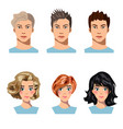 set of men and women in different hair vector image vector image
