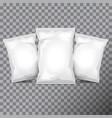 set of white foil bag packaging for food snack vector image vector image