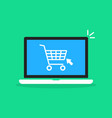 shopping cart in cartoon laptop vector image vector image