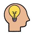 silhouette man with bulb idea design vector image