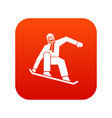 snowboarder icon digital red vector image vector image