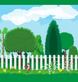 summer nature landscape with forest and fence vector image vector image