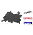 tatarstan map in halftone dot style with grunge vector image