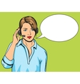 Technical support woman with phone pop art vector image vector image