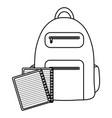 text book school with schoolbag vector image vector image