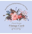 Vintage Greeting Card with Flowers and Birds vector image vector image