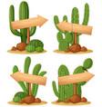 wooden signs in cactus garden vector image