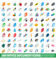100 office document icons set isometric 3d style vector image vector image