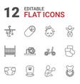 12 newborn icons vector image vector image
