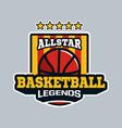 all star basketball legend emblem or badge in vector image vector image