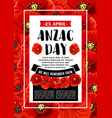 anzac day 25 april red poppy poster vector image vector image