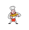 Baker Holding Bread Loaf Isolated Cartoon vector image