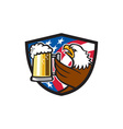 Bald Eagle Hoisting Beer Stein USA Flag Crest vector image vector image