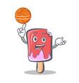 basketball ice cream character cartoon vector image vector image