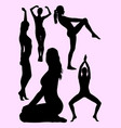 beautiful woman doing exercise silhouette 01 vector image vector image