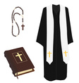 Bible rosary beads and costume vector image