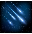 Blue night sky with shooting stars vector image vector image