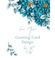Blue turquoise watercolor flowers card
