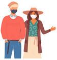 boy and girl are wearing medical masks cartoon vector image vector image
