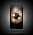 brown realistic eyeball on a cell mobile phone vector image