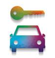 car key simplistic sign colorful icon vector image vector image