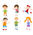 cartoon set of children vector image vector image