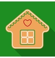Christmas Gingerbread House in Flat Style vector image