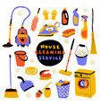 cleaning service cute doodle set with lettering vector image vector image