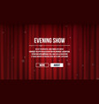 closed curtains red satin theater curtains vector image