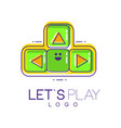 creative joystick with buttons emblem of gamepad vector image vector image