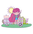 cute little girl playing soccer in the landscape vector image