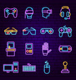 cyber game neon icons vector image vector image